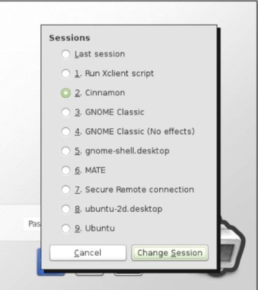 Change Linux Mint 13 Desktops in Sessions Menu