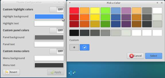 Xubuntu 13.10 Theme Color Change Menu